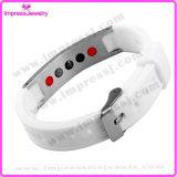 4 in 1 Bio Magnetische Armband van het Silicium van de Markering van Zircon van het Roestvrij staal van de Armband
