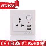 3 стенная розетка и переключатели USB сейфа 220V Pin электрическая