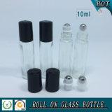 10ml effacent le roulis en verre sur la bouteille avec la boule de commande de chapeau en plastique noir et d'acier inoxydable