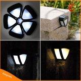 2 LED al aire libre de energía solar de la lámpara solar de la cerca, luz solar del jardín, luz solar de la pared