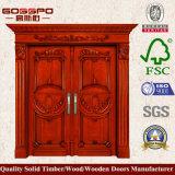 Portello di entrata di mogano intagliato del portello di legno solido (XS1-004)