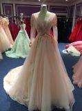 長い袖のピンクVの首のテュルの花のイブニング・ドレス