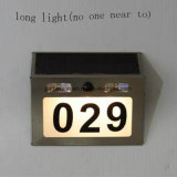 Solar Doorplate Light Outdoor aço inoxidável Apartment House Number Light-Operated Lamp com sensor de luz PIR
