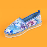 Милые ботинки Espadrille платформы Slip-on Sequin повелительниц ЕВА женщин единственные флористические