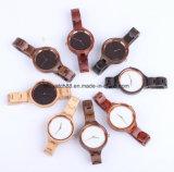 여자의 목제 시계 숙녀 스위스 운동 손목 시계 Handmade 자연적인 목제 시계