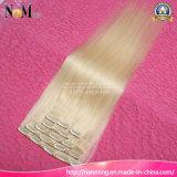 Sew no cabelo do grampo da cor das extensões 613 do cabelo louro da platina do Weave