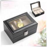 Caixa de presente luxuosa Handmade de couro do relógio do plutônio para o relógio