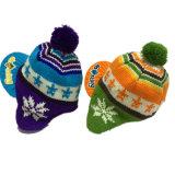 Fabricante hecho punto Earflap de encargo de los sombreros de la gorrita tejida del invierno del nuevo acrílico de la manera el 100%