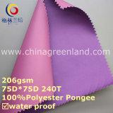 Tela ambiental de la capa de la pongis del poliester del PVC para la ropa de la materia textil (GLLML257)