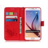 Напечатанная бабочкой крышка сотового телефона PU бумажника передвижная для Samsung с веревочкой руки