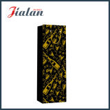 Couleur noire avec le sac de papier de estampage chaud de cadeau d'achats de bouteille