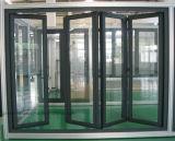 Puertas de aluminio del doblez del BI del patio con el vidrio Tempered doble