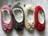 4つのカラー弓ニットの屋内靴