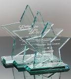 Premio e trofeo di cristallo di verde di giada di figura rotonda