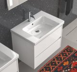 Vanità moderna della stanza da bagno del PVC di stile dell'America del Nord con il bacino di ceramica
