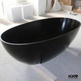 卵の形の純粋で黒いアクリルの固体表面のCorianの浴槽