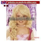 Парик причудливый платья Princess Ферзя деталей партии волнистый белокурый (PS2042)