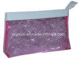 Colore rosa impermeabile del PVC per il sacchetto dell'articolo da toeletta di memoria di trucco di corsa delle donne