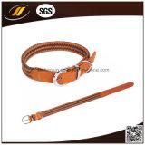 Collar de cuero verdadero grueso durable fuerte hecho a mano de encargo del animal doméstico del perro (HJ1210)