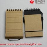 毎日の使用のブラウンペンが付いている堅いカバー螺線形ノート