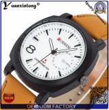Le cuir véritable Curren Curren de marque de Yxl-688 de montre initiale d'hommes observe la montre de militaires