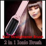 2 en 1 cepillo principal iónico de la enderezadora del pelo de la función del masaje