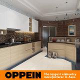 Modules de cuisine en bois de mélamine en forme de L d'Oppein avec l'île faisante le coin (OP16-M04)