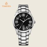 Reloj 72264 de la dial de Timesea de la plata de cuarzo de los hombres negros del análogo