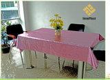 Tablecloth gravado metálico da grão do PVC com revestimento protetor de tela do fio (TJD004)
