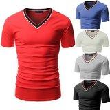 卸し売り100%Cotton Cusualのバルク購買の衣類Vの首の人のTシャツ