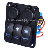 Waterproof 3 Gang LED Rocker Switch com 4 soquetes USB Painel para Marine / Boat / RV
