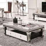 Tavolino da salotto bianco di Gloss con Rectangle Marble Top per Home Using