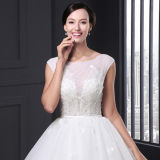Luxury Beaded Scoop Neck A-Line Simple White Princess Wedding Dress (SL021)