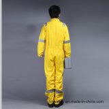 Combinaison 100% ignifuge de vêtements de travail de Proban de sûreté de coton avec la bande r3fléchissante