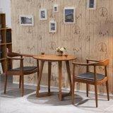 木の家具の居間の古典的な純木の円形のダイニングテーブル