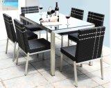 7 Stücke Ratan Stuhl-Schreibtisch, diegesetzte Rattan-Möbel speisen