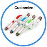 Cable retractable plano del USB de la TPE con el conector de Pin micro del USB y del relámpago 8