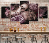 HD afgedrukte Schedel en Rozen die Canvas mc-041 schilderen van het Beeld van de Affiche van het Af:drukken van het Decor van de Zaal van het Af:drukken van het Canvas