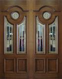 Puerta doble de madera sólida con el vidrio (DS-007)