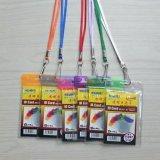 Suporte de cartão do PVC do OEM com a cinta da garganta do colhedor