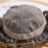 Toupee mono de cadre d'unité centrale de base de pleine couleur grise de cheveux humains