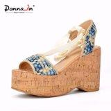 Zapatos de las sandalias de la plataforma del corcho de las mujeres de los altos talones de señora Denim Lace-up