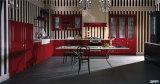 Armadio da cucina rosso di qualità superiore su ordine di legno solido