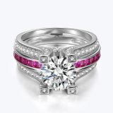 Het zilveren Bedekte Roze van Juwelen het Stapelen van Ringen