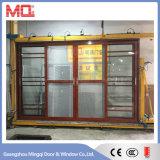 Porta deslizante de vidro de alumínio com grades e rede de mosquito