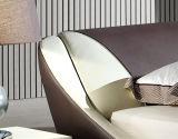 Base moderna do couro genuíno do projeto elegante novo (HC322) para o quarto