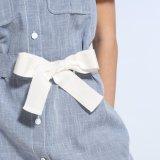 Form-Frauen-Freizeit Leinenc$v-stutzen Taschen-Verband-Shirt-Kleid