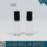 5ml borran el rodillo de cristal en la botella de perfume con la bola de rodillo inoxidable