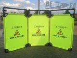 Barricada amonestadora plegable de la tela
