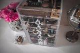 Cadre de mémoire cosmétique acrylique d'organisateur de renivellement de vente de diamant d'espace libre chaud de traitement
